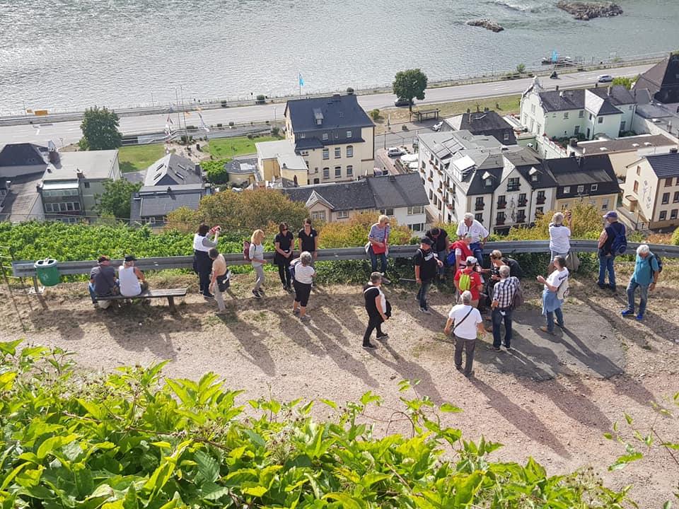 Gruppenstopp oberhalb von Assmannshausen für die letzte Weinverkostung