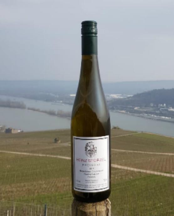 Eine Flasche Riesling Kabinett feinherb. Im HIntergrung der Rhein und Rüdesheim am Rhein